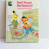 Sesame Street Don't Forget the Oatmeal: A Supermarket Word Book - Vintage Children's Book - 1980
