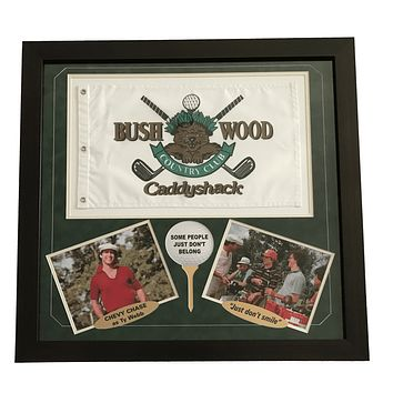CADDYSHACK FLAG FRAMED COLLAGE UN SIGNED BUSHWOOD PIN CHEVY CHASE MURRAY DANGERFIELD