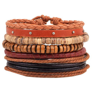 Wooden Beads Braided Faux Leather Bracelets