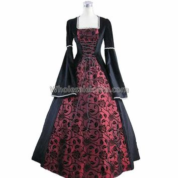 Medieval Renaissance Fair Queen Velvet Brocade Ball Gown Dress Theatrical Cosplay Halloween Costume Coat