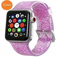 For Apple Watch Band 42mm iWatch Band for Women Bling Stylish Glitter Silicone Sports Replacement Strap with Stainless Steel Metal Clasp for Apple Watch Series3/2/1 (Pink)