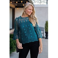Flirty In The Fall Lace Bell Sleeve Top : Teal