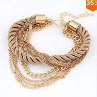 Korean Fashion Popular Low key Luxurious Metal Chain Braided rope Multilayer bracelet Anklets for women = 1668787140
