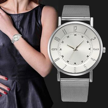 Relogio Sliver Stainless Steel Watches Women Classic Metal Mesh Band Quartz Wrist Watch Ladies Business Clock Simple Watches #Ju