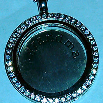Silver Stamped Grandma Stainless Steel Back Plate/Locket Plate for Floating Lockets/Glass Memory Lockets in 23 MM fit 30 MM Lockets*