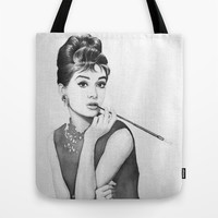Audrey Hepburn | Watercolor Painting Tote Bag by Olechka