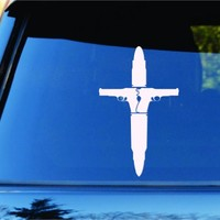 Dabbledown Decals Bullet and Guns Cross Jesus Religion Car Truck Window Windshield Lettering Decal Sticker Decals Stickers JDM Drift Dub Vw Lowered Jdm Fresh Detailed Stance Fitment 4x4