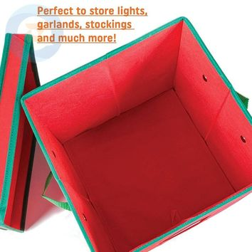 Christmas Ornaments Storage Box with Lid and 4 Adjustable Layers Fits 64 Round Ornaments 12x12 x12 Inches