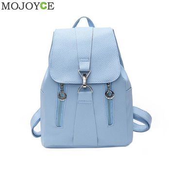 Women PU Leather Backpack Preppy Style School Bags Teenagers Girl Back Pack Casual Schoolbag Vintage Mochila Casual Rucksack New