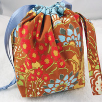 Knitting project bag, knit on the go, WIP storage bag, drawstring bag, travel sock Amy Butler floral rust blue, Ready to ship