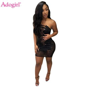 Adogirl Beaded Sheer Mesh Appliques Mini Dress 2018 Fashion Sexy Strapless Bandage Night Club Dresses Micro Party Dress Vestidos