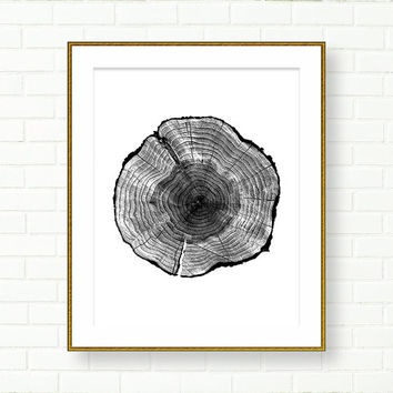 Wood slice Art print, INSTANT DOWNLOAD, Black White, PRINTABLE, Grey, Tree Rings, Modern Wall Art, Cabin, Neutral, Wood grain, Tree Rings