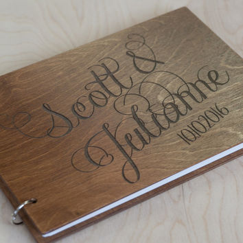 Wedding Guest Book, Wedding Guestbook, Guest Book Personalized, Customized, Wedding Date and names, Caligraphy