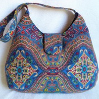Blue paisley style purse/ handmade bohemian little bag/ cute blue print shoulder bag/ boho bag by Boho Rain