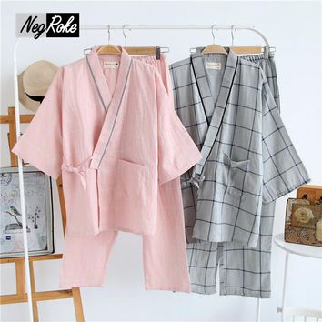 Summer 100% cotton simple stripe kimono dressing gown for men pajamas sets couples long-sleeve japanese kimono robe haori