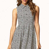 FOREVER 21 Static Print Fit & Flare Dress Cream/Black