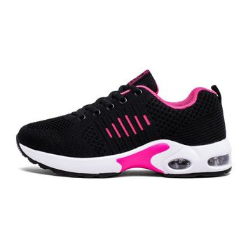 2018 Sport Spring Flying Sneakers Women's Breathable Cushioning Boots Running Shoes For Women Outdoor Athletic Mesh Shoe Flats
