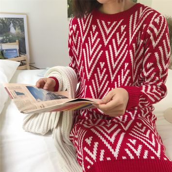 2018 Autumn and Winter New Christmas Sweater Loose Long Sweater Dress Geometric Sweater Red Knit Ugly Christmas Sweater Women