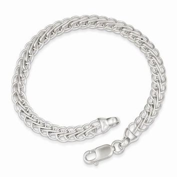 Sterling Silver Polished Fancy Circle Link Bracelet