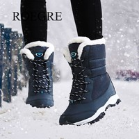 non-slip waterproof winter ankle snow boots thick fur