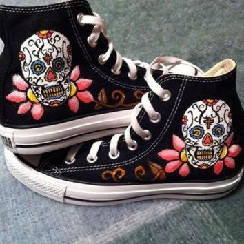 ICIKGQ8 sugar skull converse by deannanicoles on etsy
