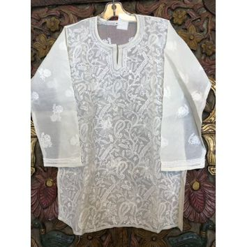Mogul Women Bohemian Pure Cotton Hand Embroidered White Tunic Blouse Ethnic Style Summer Fashion Kurti Dress S - Walmart.com