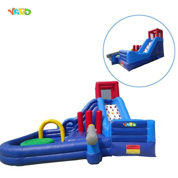 Inflatable water slide swimming pool water park playground with pool
