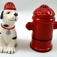 Dalmatian and Fire Hydrant Salt and Pepper Shaker Set