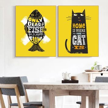 Nordic Poster Prints Black Cat Fish Qotes Wall Decor Cuadros Decoracion Yellow Wall Art Picture Kitchen Living Room Decoration