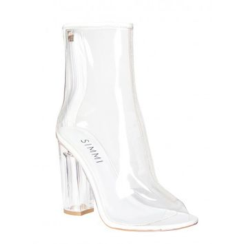Melissa White Peep Toe Perspex Heel Ankle Boots : Simmi Shoes - Love Your Shoes!
