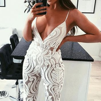 Crushing On Me Lace Jumpsuit