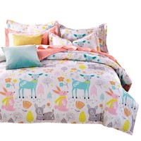 Svetanya Doona Duvet Cover+Pillowcases Deer Cartoon Kids Adults Bedding Sets Twin Full Queen King Size 100% Cotton