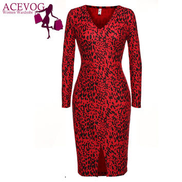 ACEVOG Women Bandage Bodycon Dress Sexy vestidos 2016 Lady Elegant Spring Summer Leopard V-Neck Long Sleeve Stretch Pencil Dress
