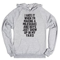 I Hate When I'm Making A Milkshake-Unisex Heather Grey Hoodie