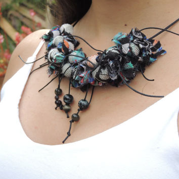 Fabric Necklace, Textile necklace, Black and blue, Beaded, Eco-friendly gift for her, Chocker fabric jewelry