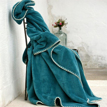 Petrol Green Wellsoft blanket,Throw blanket,Whip stitch,Twin blanket,Winter,Warm,Turkish blanket,Soft blanket,Cozy blanket,Whip stitching