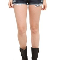 LOVEsick Dark Indigo Destroyed Shorts - 778391