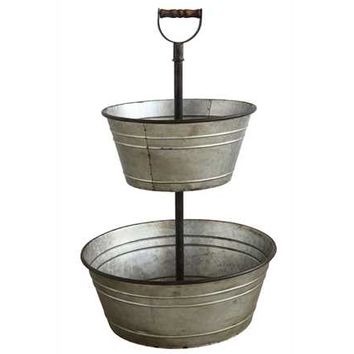 Metal 2-Tier Bucket with Wood Handle