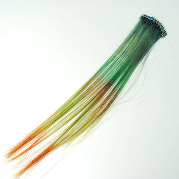 Pine // Green Human Hair Extension, Clip In Extension, Boho Hippie, Short hair extension, Emerald extension, Indie Hipster Emo Scene