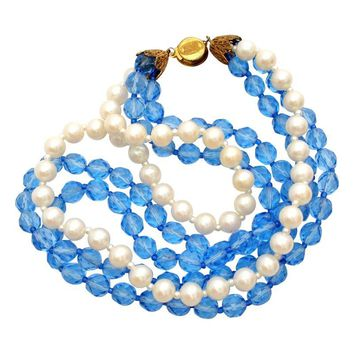 Pre-owned Miriam Haskell Necklace Blue Bead Pearl