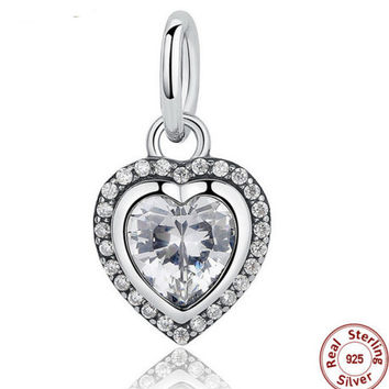 925 Sterling Silver Love Heart Pendant Charms fit PANDORA Bracelet