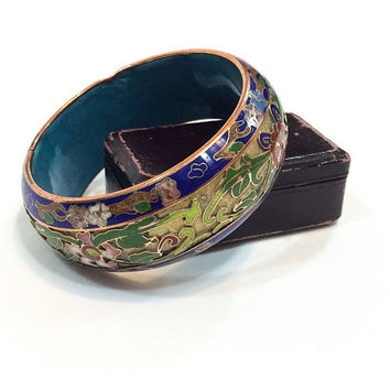 Large Cloisonne & Champleve Bangle, Wide Stacking Bracelet, Solid Brass Bangle, Blue Green Red, Chinese Export Jewelry, Vintage Jewelry