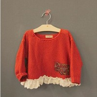 Vintage Inspired Girls Clothes Helen Red sweater Top for Little Girls | Vindie Baby
