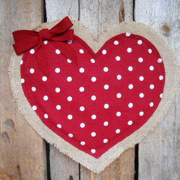 Valentines Day Decor Wedding Favor Burlap Wedding Decor Rustic Burlap Heart Decor Valentine Heart Door Hanger Polka Dot Heart