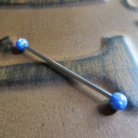 Blue Opal End Industrial Barbell Piercing Scaffold Ear Jewelry 14 Gauge Earring Conch Nipple Cartilage Tongue Bar