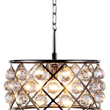 "Madison Pendant Lamp, 16"" W x 9"" H Polished Nickel Finish Royal Cut Crystal (Clear)"