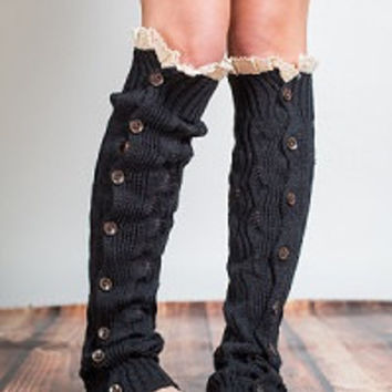 Lacy Knit Full Button Leg Warmer, Black Boot Topper, Cable Knit Boot Cuff, Lace Leg Warmers Button Down Leg Warmers