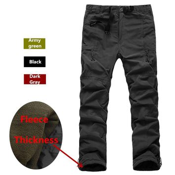 Winter Double Layer Men's Cargo Pants Warm Thick Fleece Baggy Pants Cotton Trousers For Men Male Military Camouflage Tactical