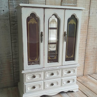 Large Shabby Chic Rustic Vintage Wooden Jewelry Box Armoire Painted Antique White Distressed Upcycled Refurbished