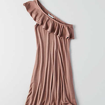 AEO Ribbed One Shoulder Dress, Mauve